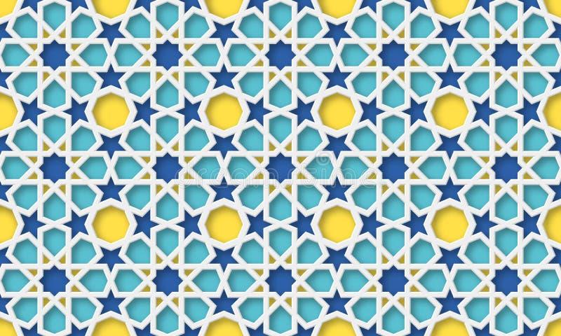 3d阿拉伯背景 结构查找了主要几何伊斯兰清真寺回教宫殿模式 库存例证