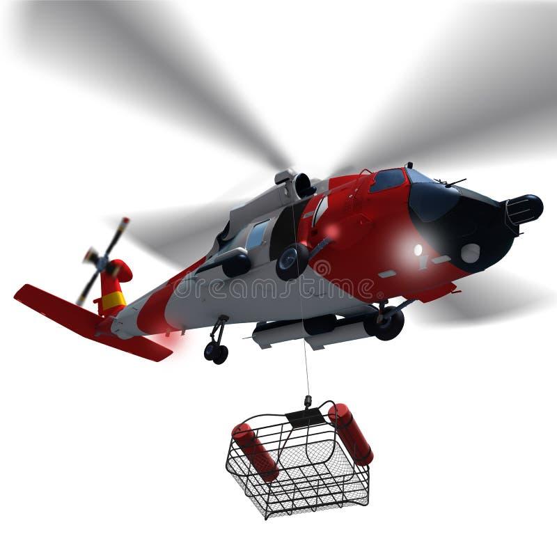 3d降低抢救的海岸警卫直升机的例证取暖 皇族释放例证