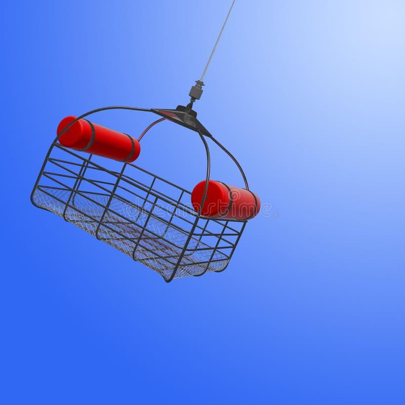 3d降低从直升机的抢救篮子的例证在s 库存例证