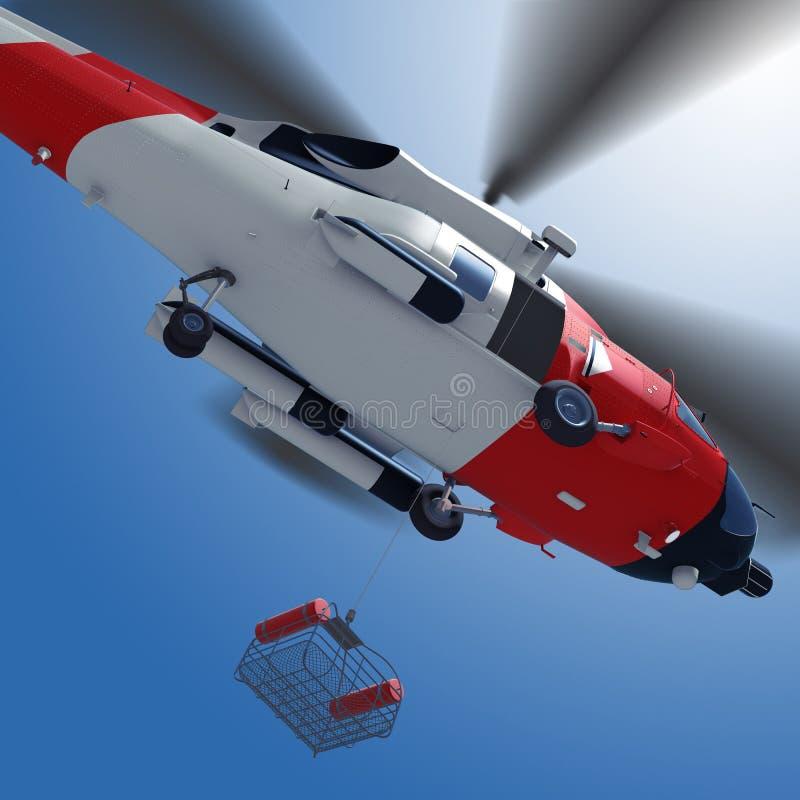 3d降低从直升机的抢救篮子的例证在s 皇族释放例证
