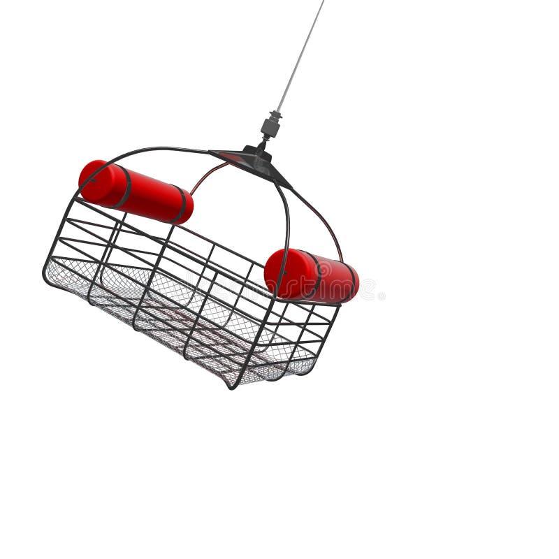 3d降低从直升机isol的抢救篮子的例证 皇族释放例证
