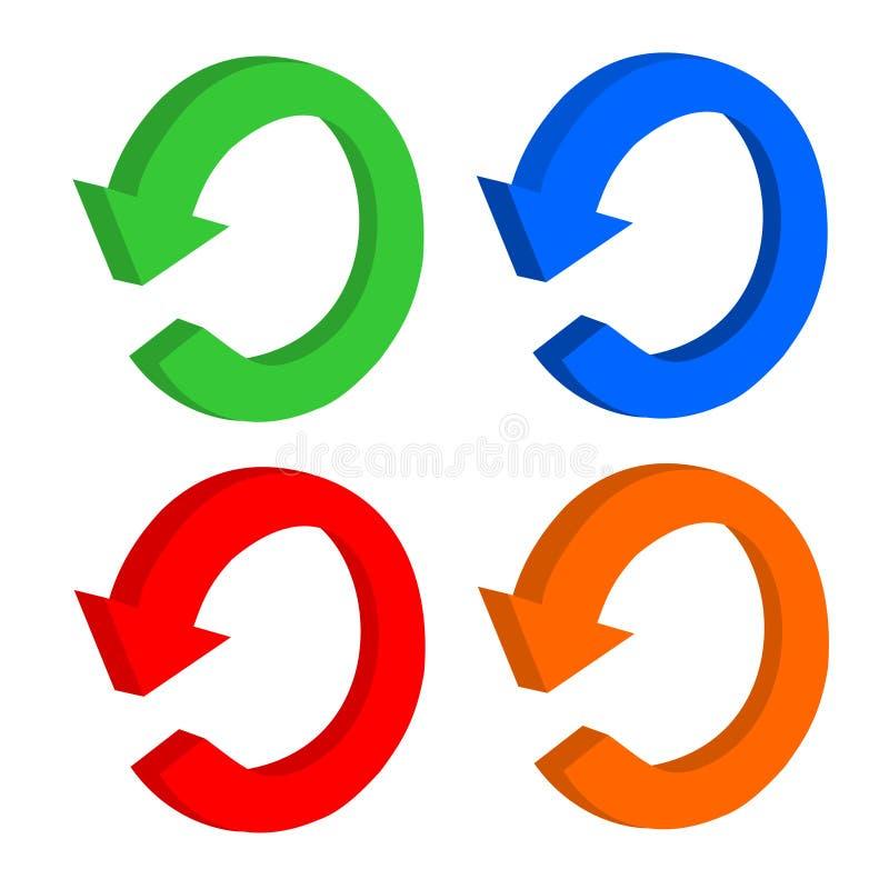 3d集合箭头通报或回收 向量例证