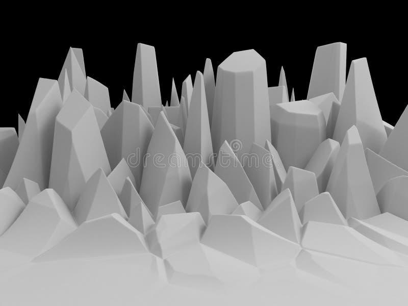 3d雕琢平面的白色摘要晃动风景背景 皇族释放例证