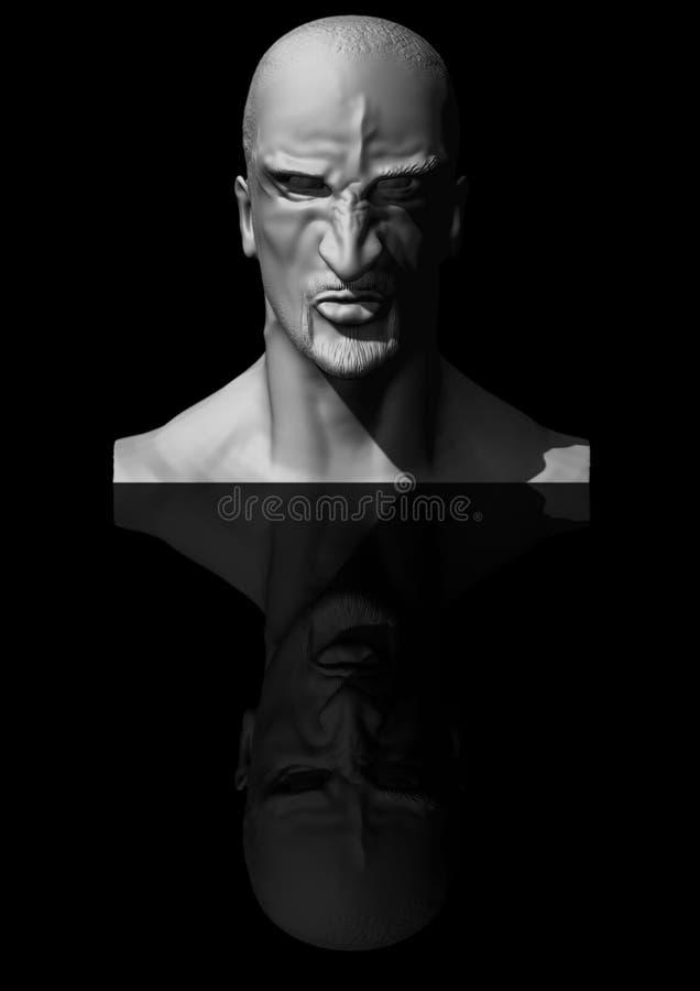 3D雕刻恼怒的人 免版税库存照片