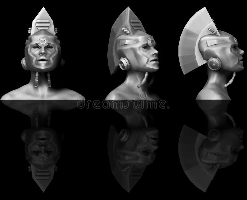 3D雕刻杂种女性靠机械装置维持生命的人 免版税库存图片
