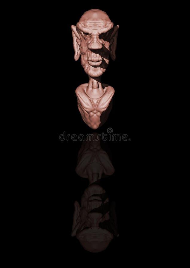 3D雕刻老人讽刺画 免版税库存照片