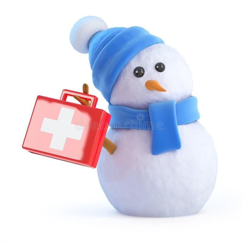 3d雪人供应急救 库存例证