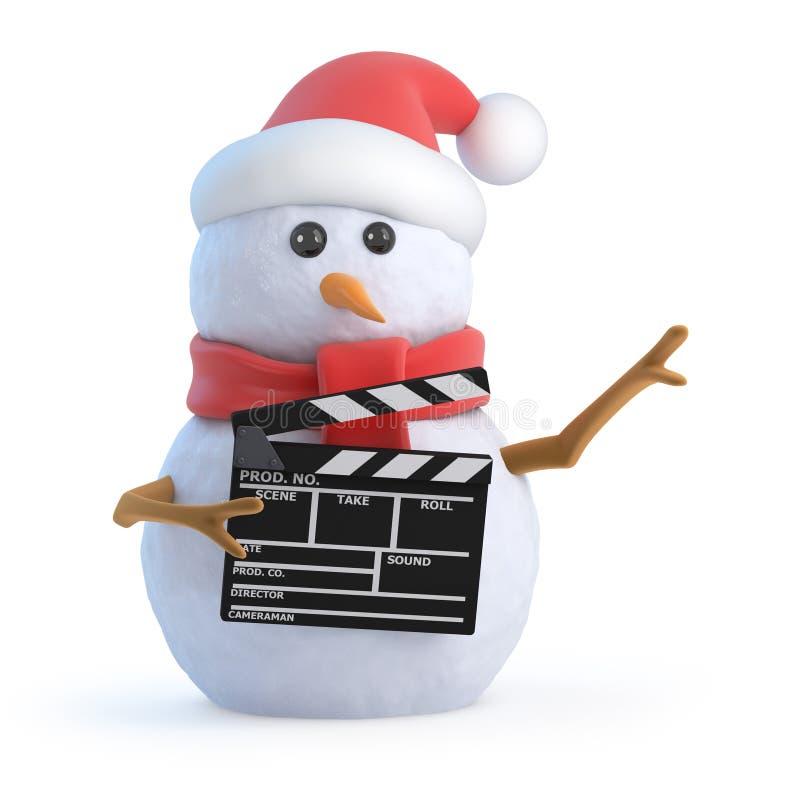 3d雪人拍一部电影 库存例证