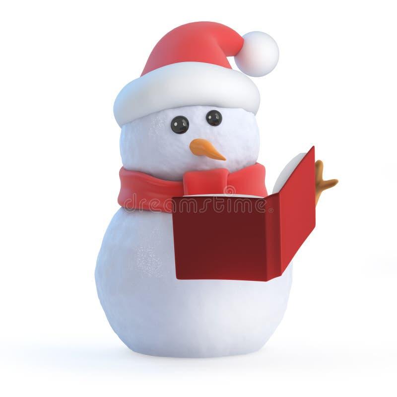 3d雪人读一本书 向量例证