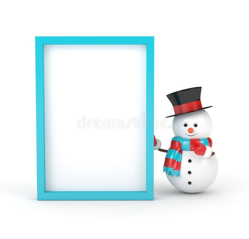 3d雪人翻译与空白的委员会的被隔绝在白色 向量例证