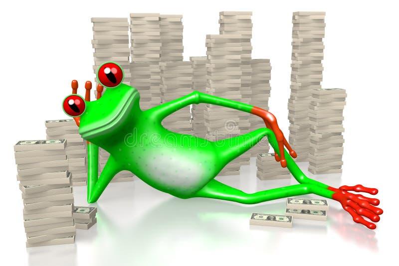 3D青蛙-富有的概念 皇族释放例证