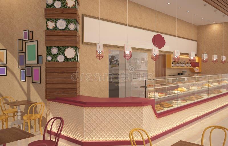 3D面包点心店室内设计的形象化 库存例证