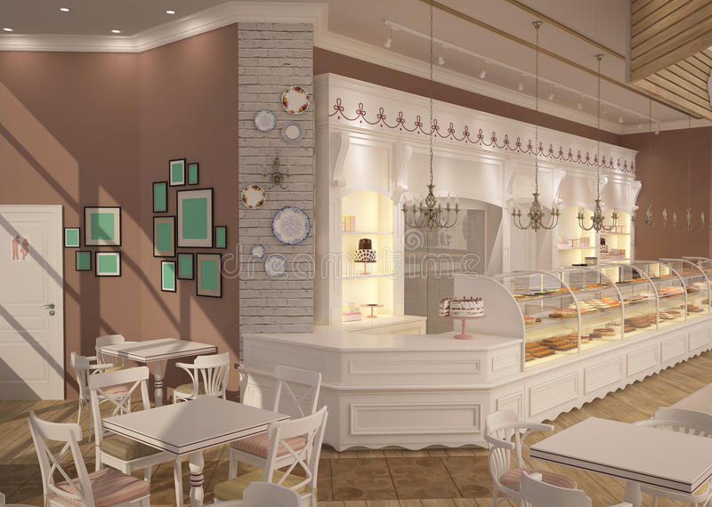 3D面包点心店室内设计的形象化 向量例证