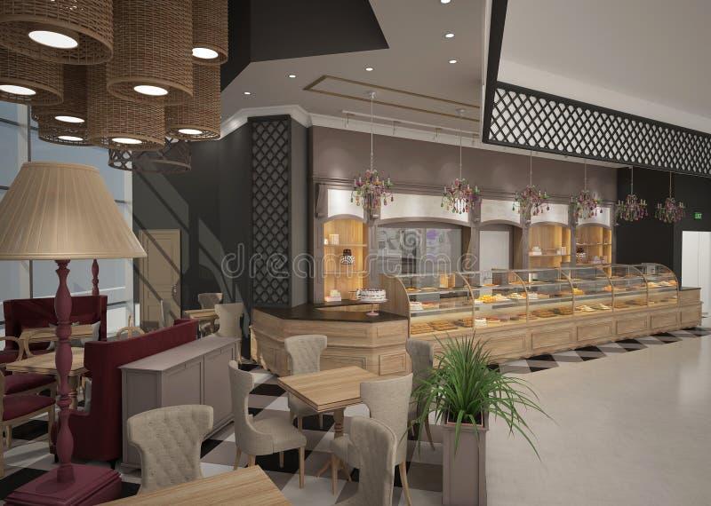 3D面包点心店室内设计的形象化 皇族释放例证
