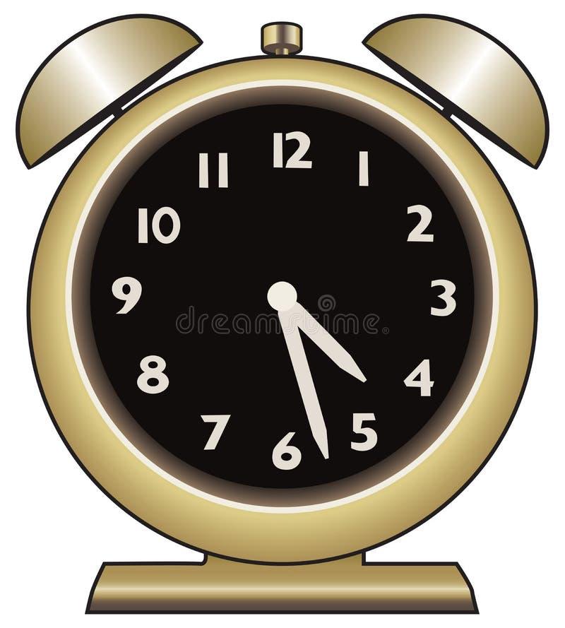 3d预警背景时钟金子图象白色 向量例证