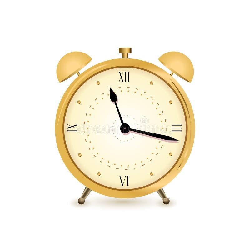3d预警背景时钟金子图象白色 库存例证