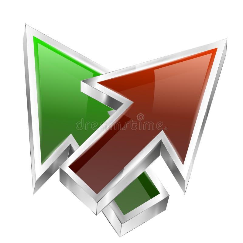 3d颜色箭头概念象 向量例证