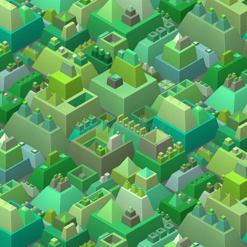 3d风格化未来派城市以多绿色 库存例证