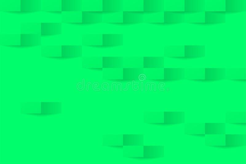 3d飞碟绿色几何背景 抽象飞碟绿色背景 与阴影的绿色无缝的纹理 向量例证