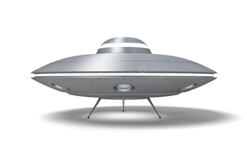 3d飞碟身分的翻译在白色背景以它舱口盖开放隔绝的地面上的 皇族释放例证