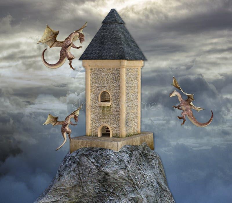 3D飞行在塔附近的3条龙的例证高在喜怒无常的云彩 向量例证