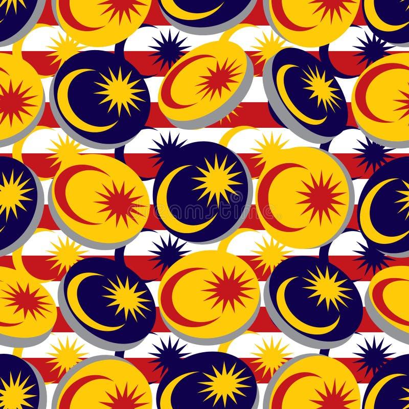 3d马来西亚旗子圈子元素无缝的样式 库存例证