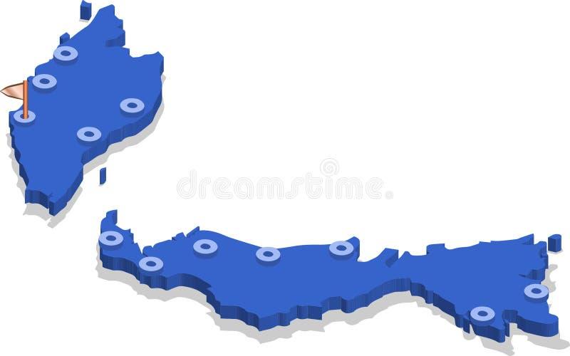 3d马来西亚的等轴测图地图有蓝色表面和城市的 皇族释放例证