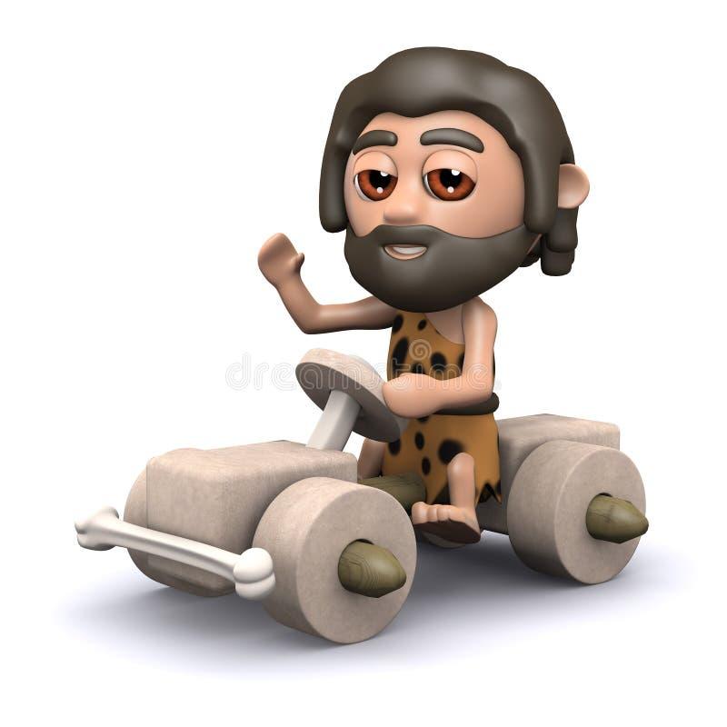 3d驾驶石器时期汽车的穴居人 皇族释放例证