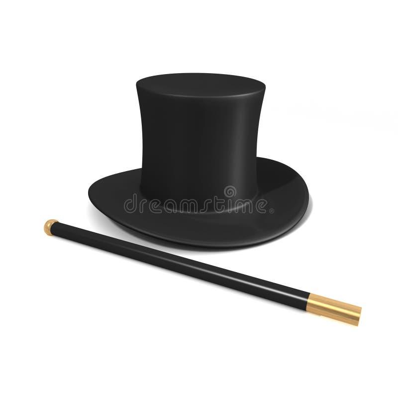 3d魔术师帽子和棍子 向量例证