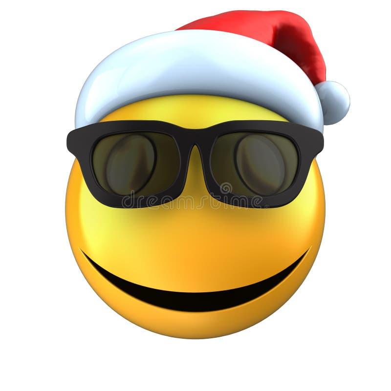 3d黄色与圣诞节帽子的意思号微笑 皇族释放例证