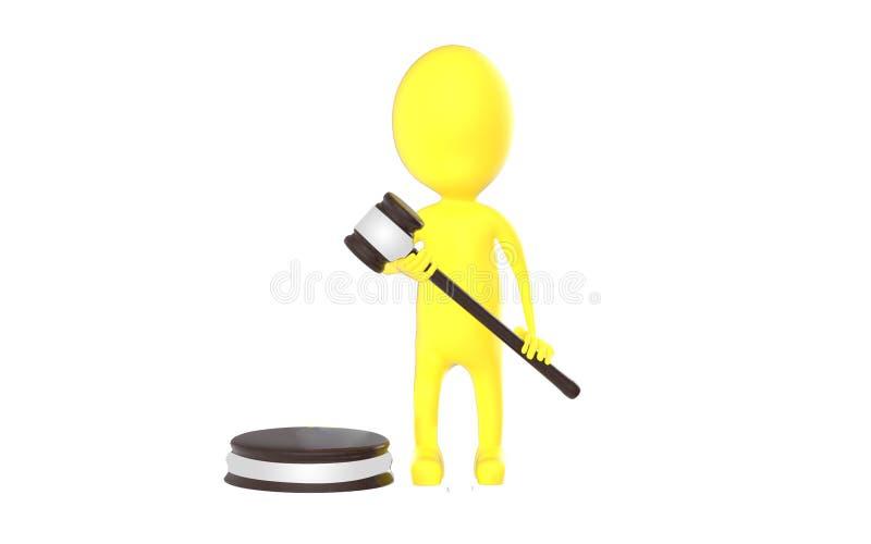 3d黄色字符法官 库存例证