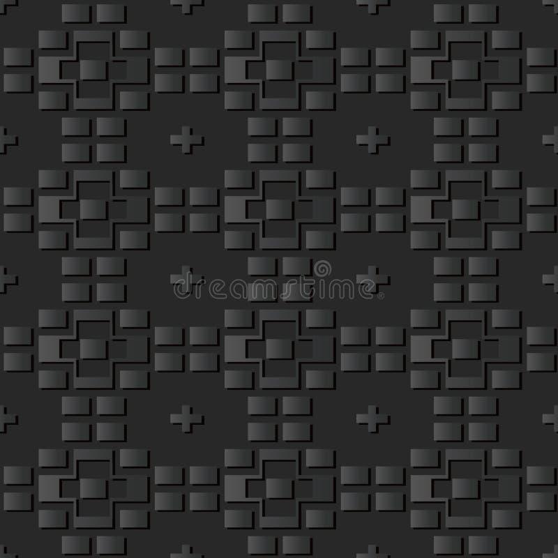 3D黑暗的纸艺术几何砖反复查对 向量例证