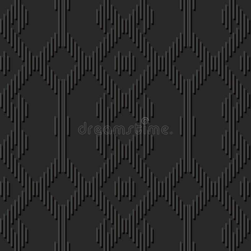 3D黑暗的纸艺术马赛克几何反复查对框架 向量例证