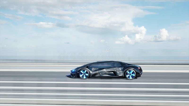 3d黑未来派汽车模型在桥梁的 非常快速驾驶 未来的概念 3d?? 向量例证