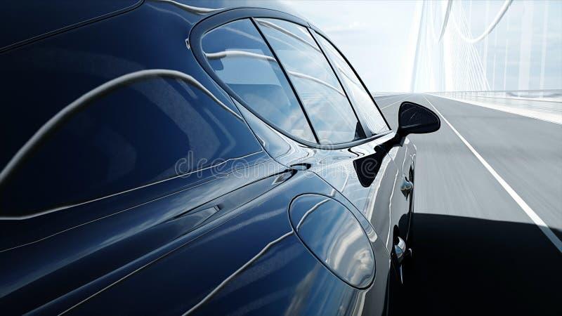3d黑跑车模型在桥梁的 非常快速驾驶 3d?? 向量例证