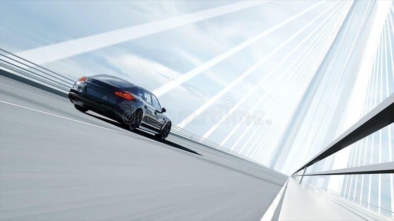 3d黑跑车模型在桥梁的 非常快速驾驶 3d?? 库存例证