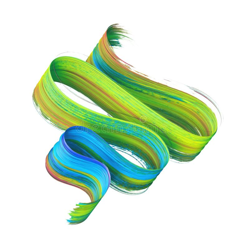 3d übertragen, abstrakter gewundener Bürstenanschlag, das künstlerische Gestaltungselement, das auf weißem Hintergrund, das Farbe lizenzfreie abbildung