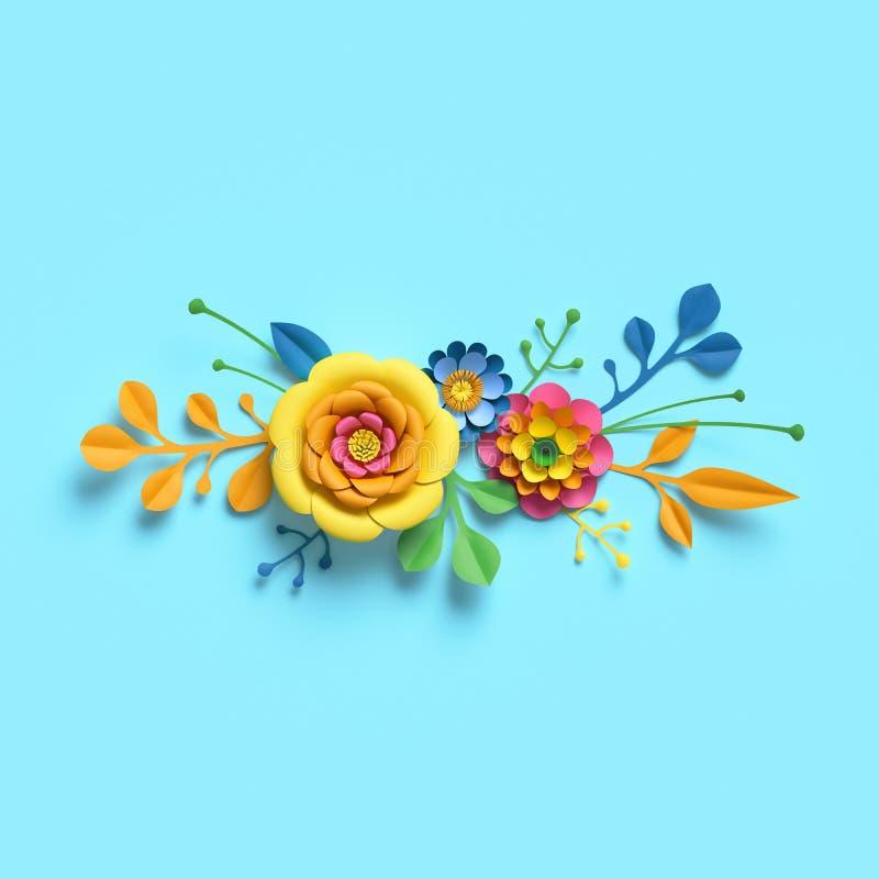 3d übertragen, Kraftpapierblumen, festlicher Blumenstrauß, horizontale Grenze, botanische Anordnung, helle Süßigkeitsfarben, Natu lizenzfreie abbildung
