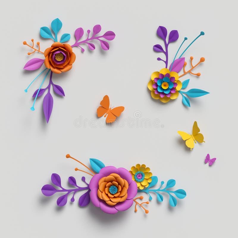 3d übertragen, Papierblumenclipart, dekorative Elemente, Blumenhintergrund, botanisches Muster, helle Süßigkeitsfarben, vibrieren lizenzfreie stockfotos