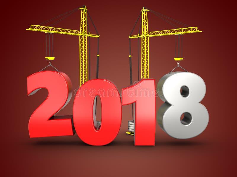 3d 2018 år med kranen stock illustrationer