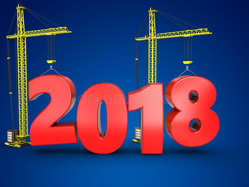 3d 2018 år med kranen vektor illustrationer