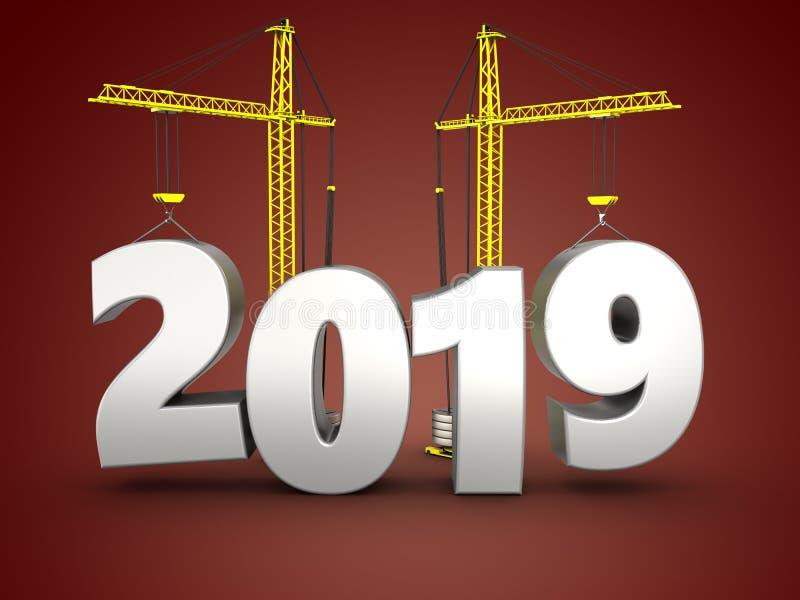 3d 2019 år med kranen vektor illustrationer