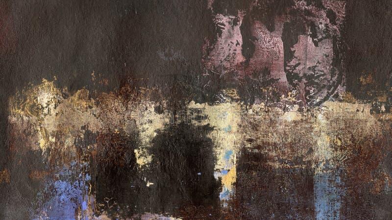 D'or éclabousse sur le fond peint brun photo stock