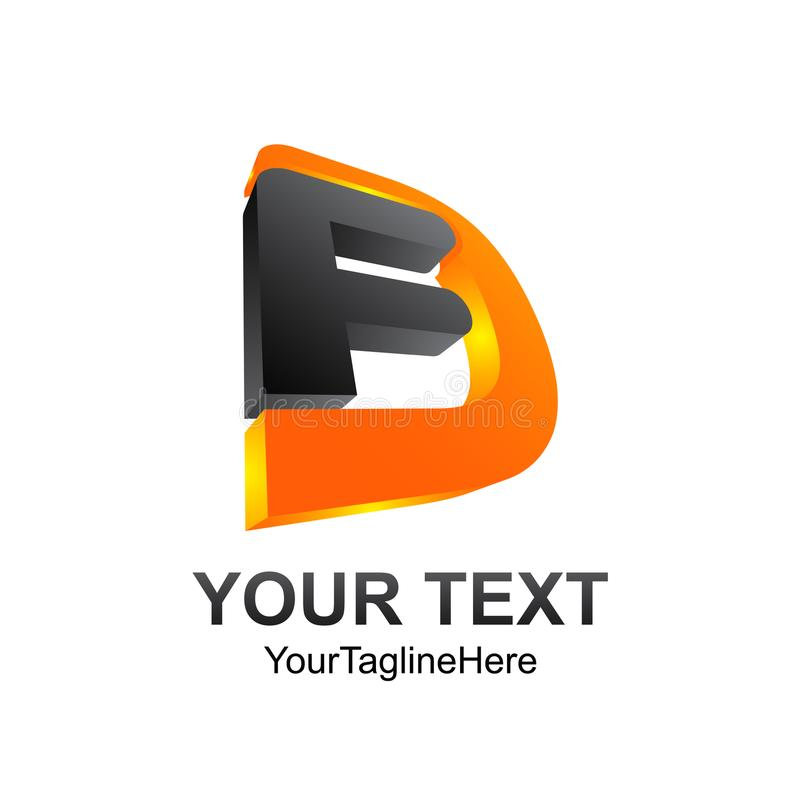 3D élément de calibre de conception de logo d'alphabet d'initiale de la lettre FD illustration stock
