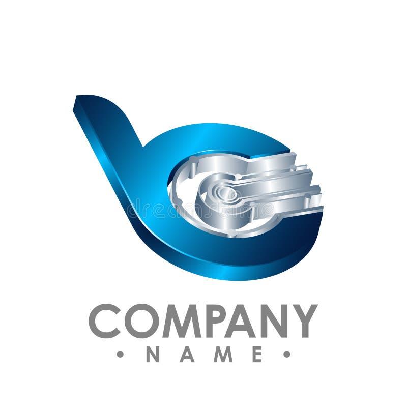 3d ícone da letra B Logotipo esperto da tecnologia, computador e relat dos dados ilustração do vetor