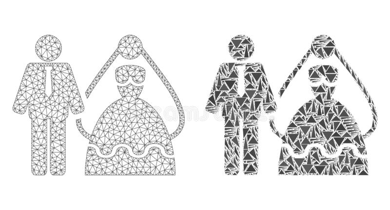 2D ícone poligonal de Mesh Bride e do noivo e do mosaico ilustração stock