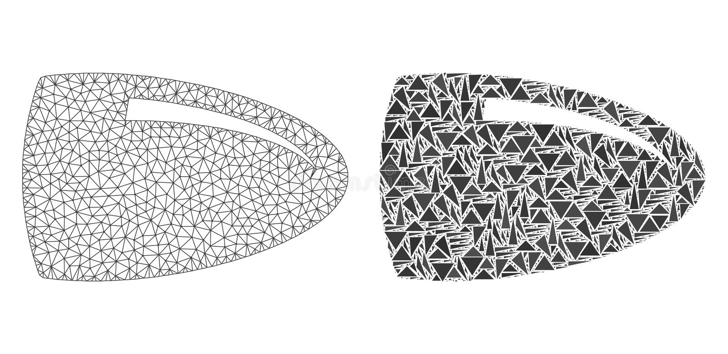 2D ícone poligonal de Mesh Bullet e do mosaico ilustração stock
