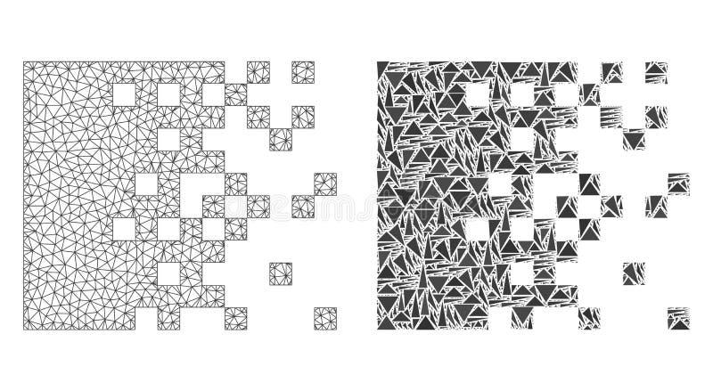 2D ícone poligonal de Mesh Dissolving Pixels e do mosaico ilustração stock