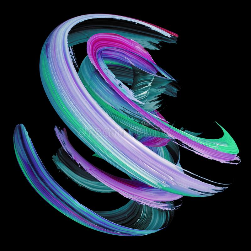 3d перевод, абстрактный переплетенный ход щетки, выплеск краски, splatter, красочная скручиваемость, художественная спираль, изол иллюстрация штока