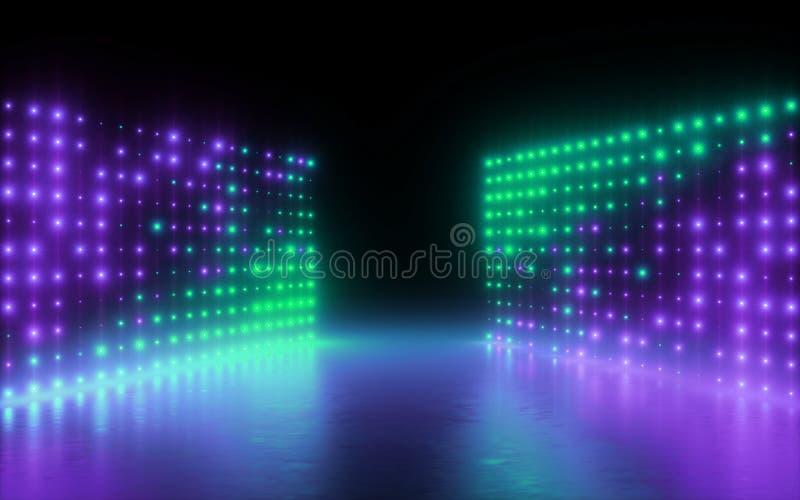 3d представляют, абстрактная предпосылка, пикселы экрана, накаляя точки, неоновые света, виртуальная реальность, спектр ультрафио иллюстрация вектора